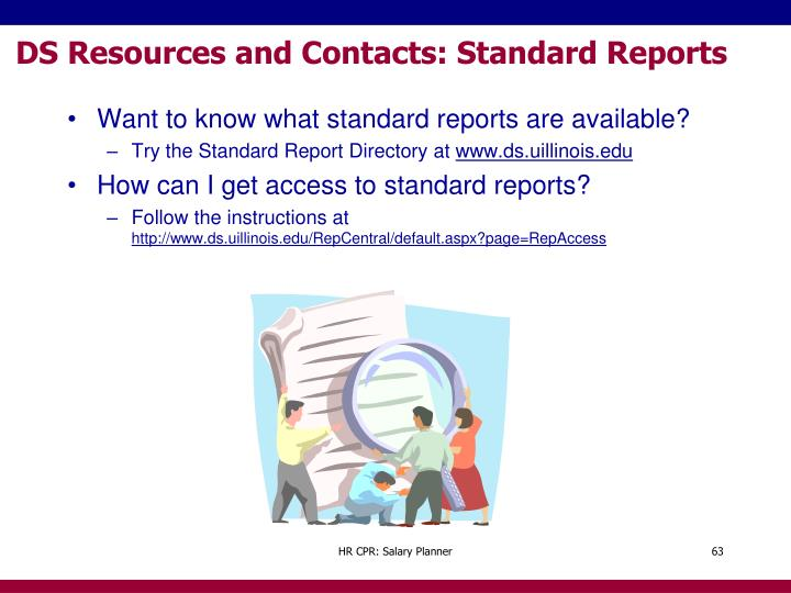 DS Resources and Contacts: Standard Reports