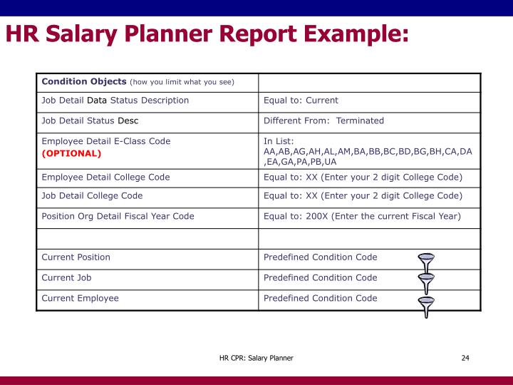 HR Salary Planner Report Example: