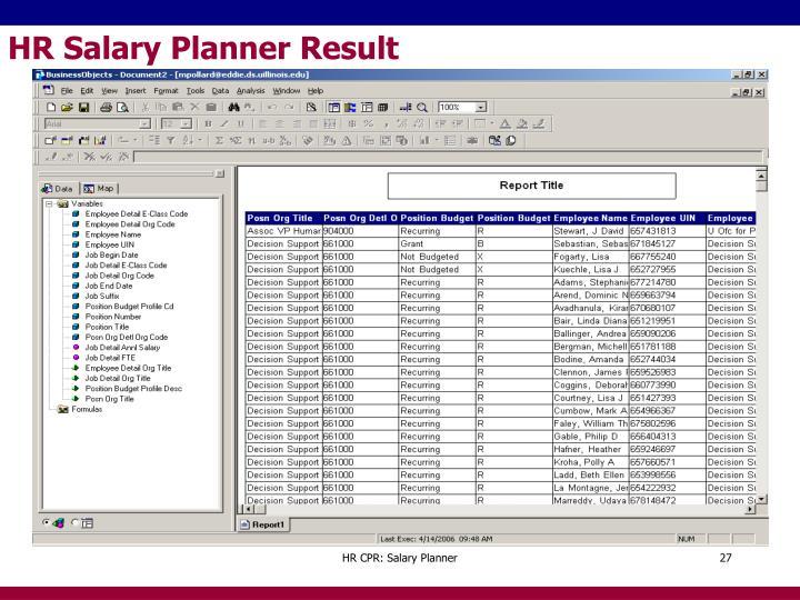 HR Salary Planner Result