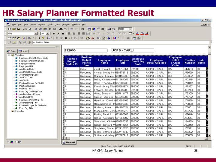 HR Salary Planner Formatted Result