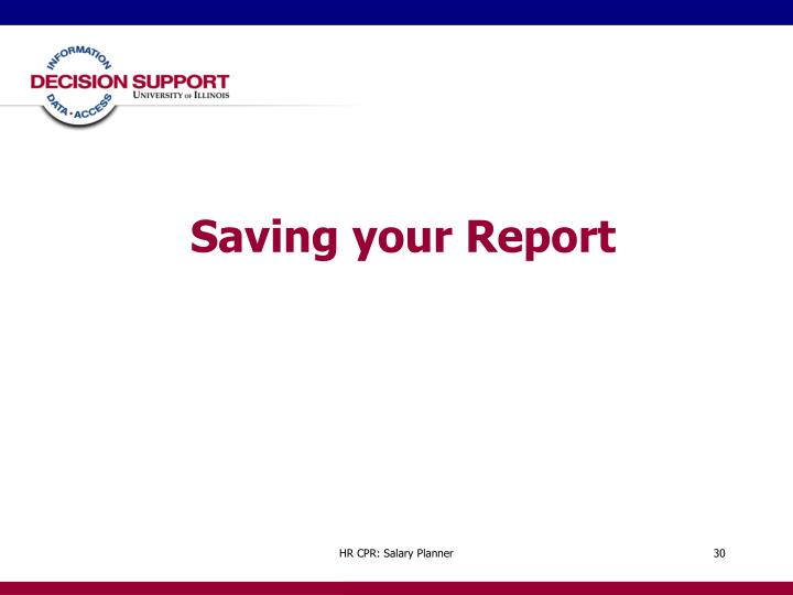 Saving your Report