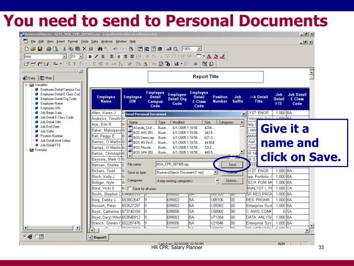 You need to send to Personal Documents