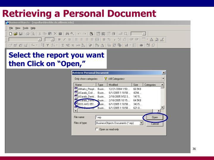 Retrieving a Personal Document