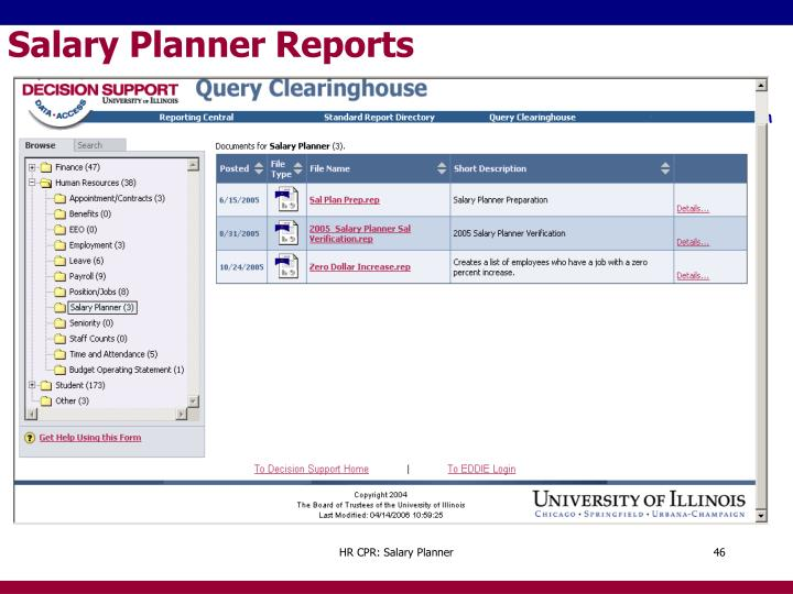 Salary Planner Reports