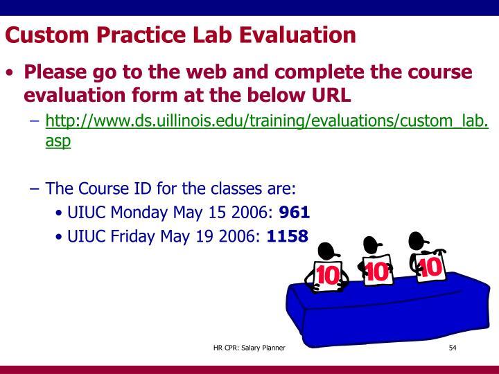 Custom Practice Lab Evaluation