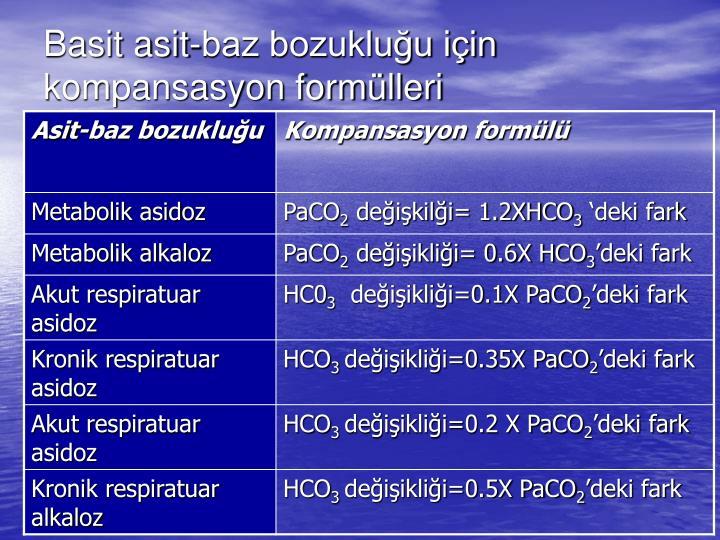 Basit asit-baz bozukluğu için kompansasyon formülleri