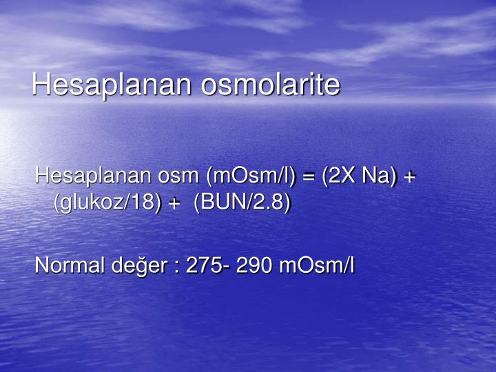 Hesaplanan osmolarite