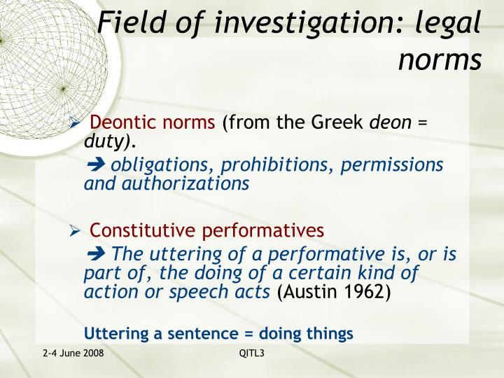 Field of investigation: legal norms
