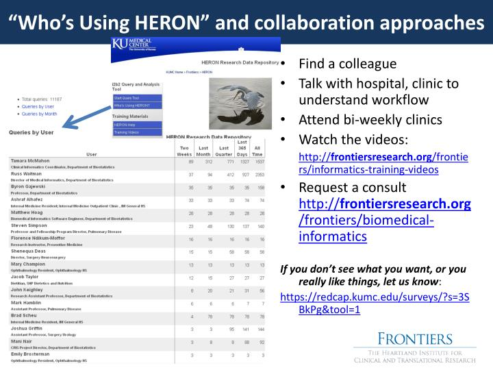 """""""Who's Using HERON"""" and collaboration approaches"""