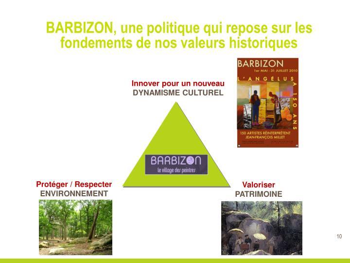 BARBIZON, une politique qui repose sur les fondements de nos valeurs historiques