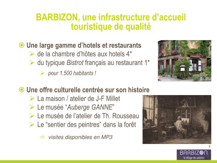 BARBIZON, une infrastructure d'accueil touristique de qualité