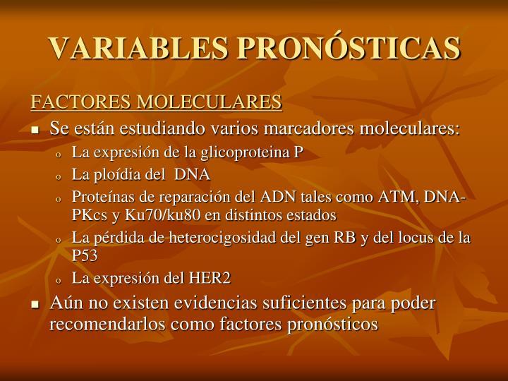 VARIABLES PRONÓSTICAS