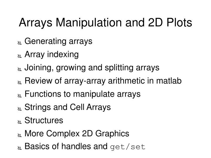 arrays manipulation and 2d plots n.