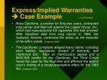express implied warranties case example continued
