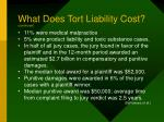 what does tort liability cost continued