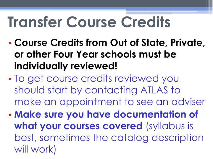 Transfer Course Credits