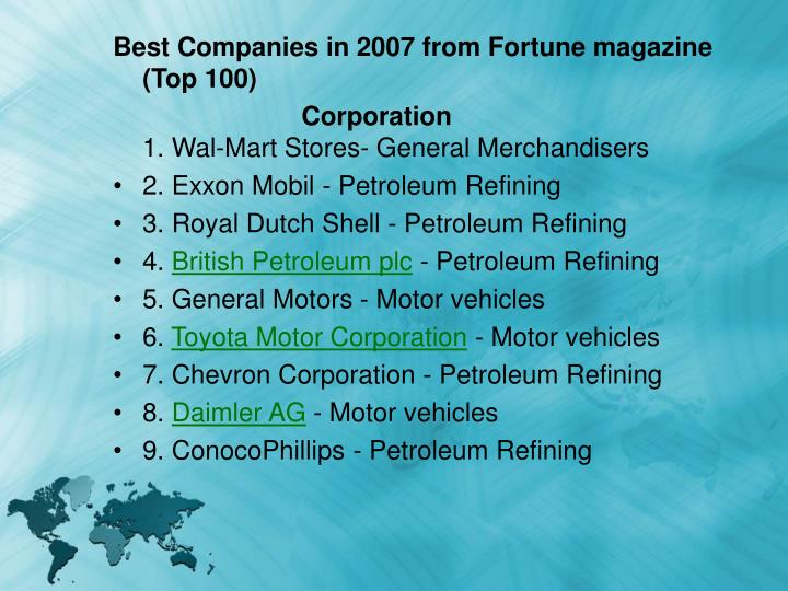 Best Companies in 2007 from Fortune magazine (Top 100)