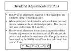 dividend adjustments for puts