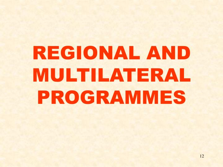 REGIONAL AND MULTILATERAL PROGRAMMES