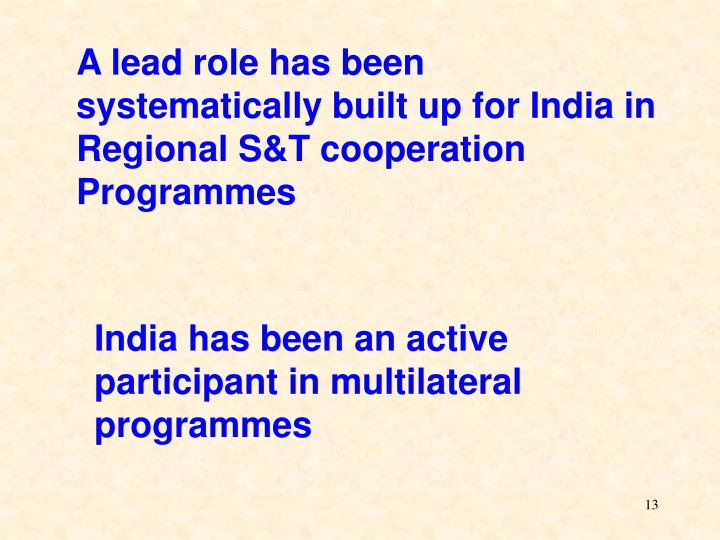 A lead role has been systematically built up for India in Regional S&T cooperation Programmes