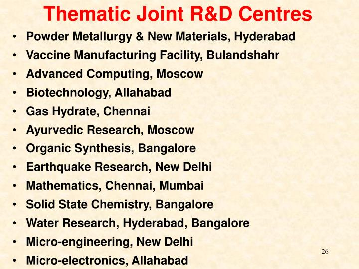 Thematic Joint R&D Centres