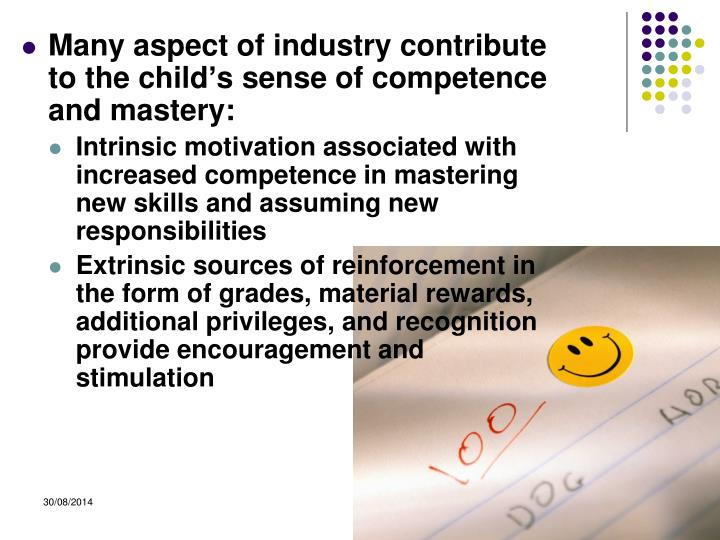 Many aspect of industry contribute to the child's sense of competence and mastery: