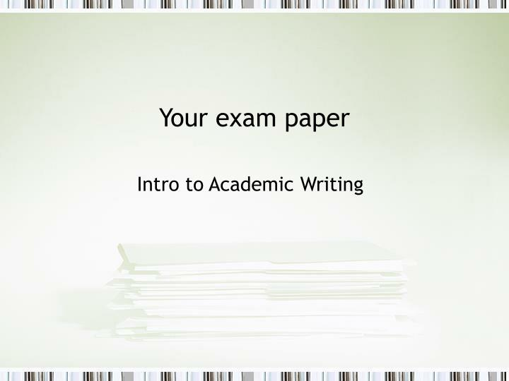 your exam paper n.