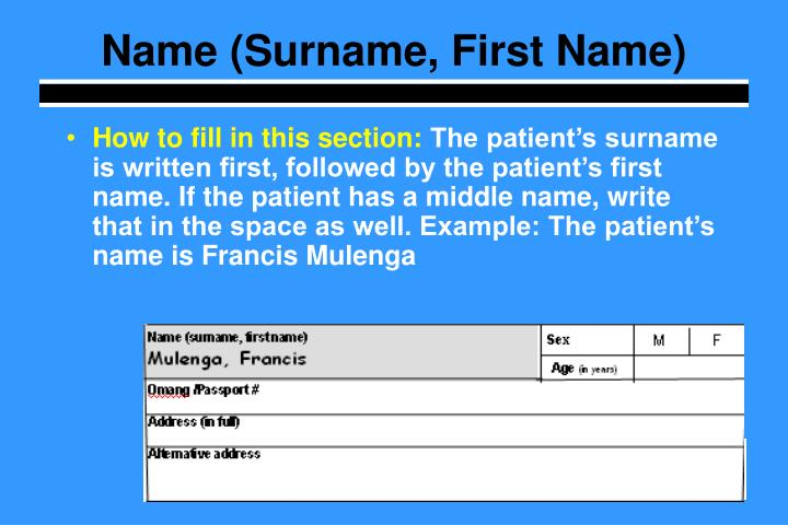 Name (Surname, First Name)