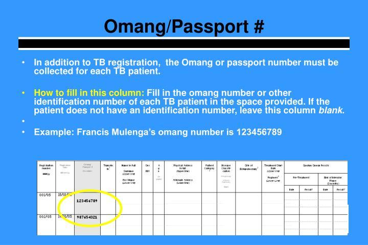 Omang/Passport #