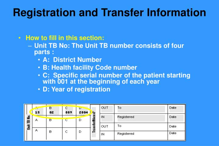 Registration and Transfer Information