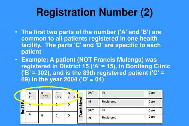 Registration Number (2)