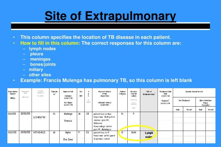 Site of Extrapulmonary