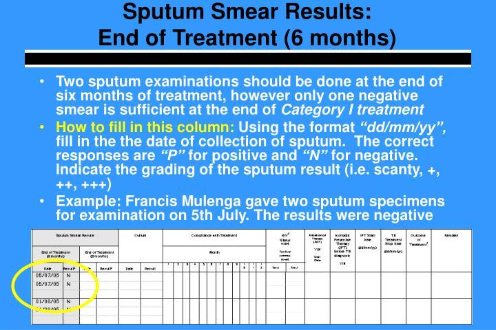 Sputum Smear Results: