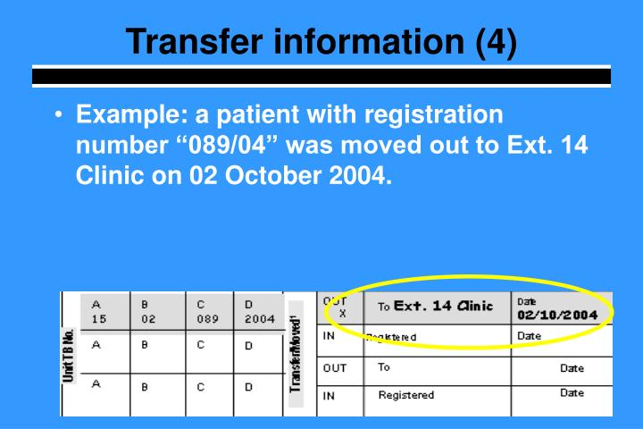 Transfer information (4)