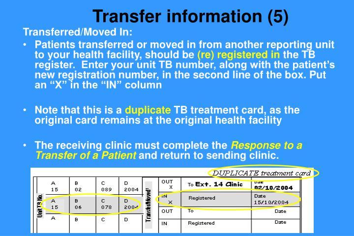 Transfer information (5)