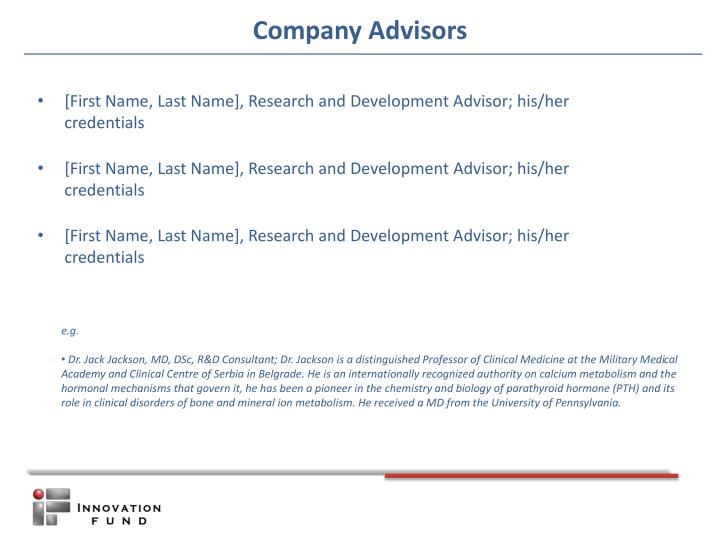 [First Name, Last Name], Research and Development Advisor; his/her credentials