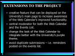 extensions to the project