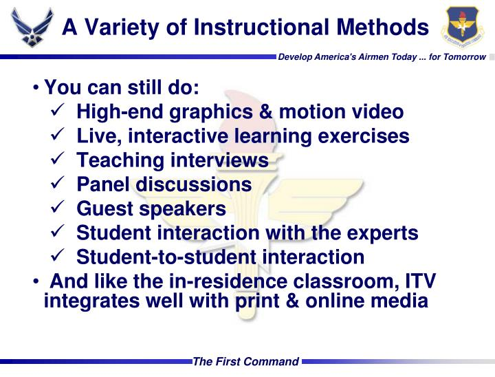 A Variety of Instructional Methods
