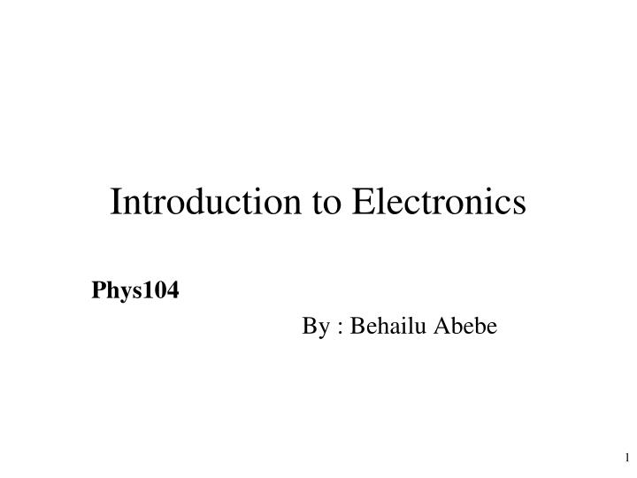introduction to electronics n.