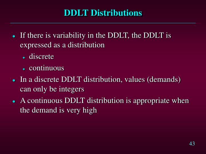 DDLT Distributions