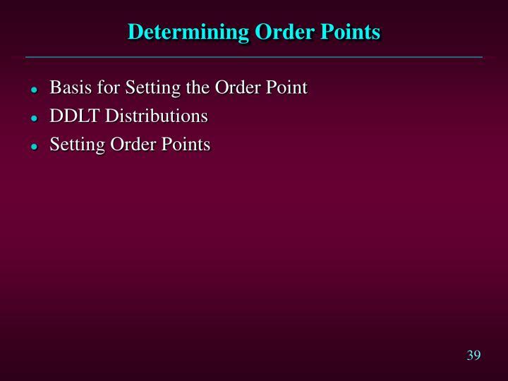 Determining Order Points