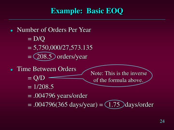 Example:  Basic EOQ