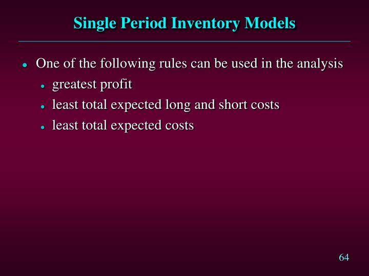 Single Period Inventory Models