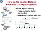 how do we encode data as binary for our digital system1