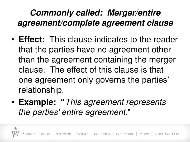 Entire Agreement Clause Entire Agreement Clause In Commercial