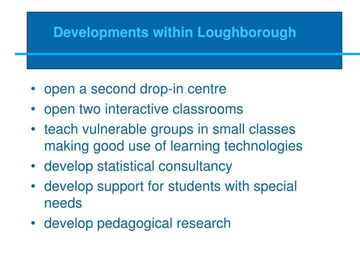 Developments within Loughborough
