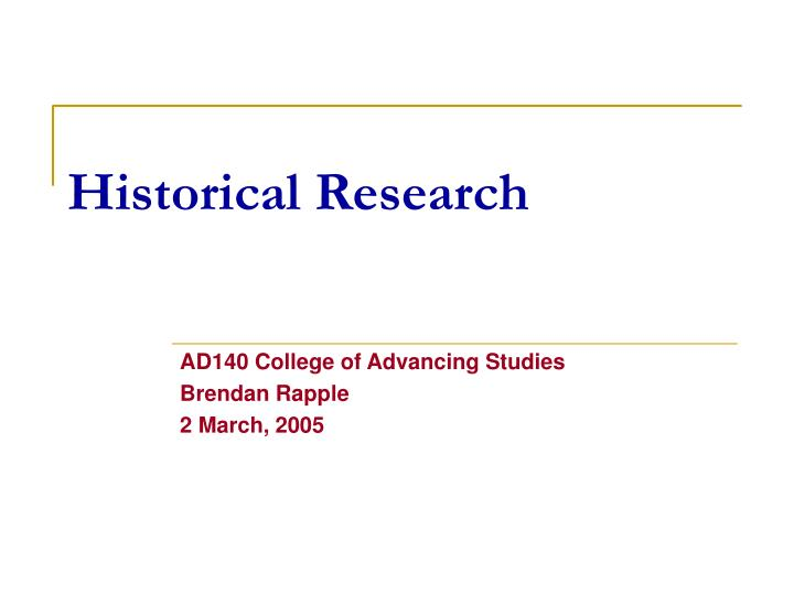 historical research n.
