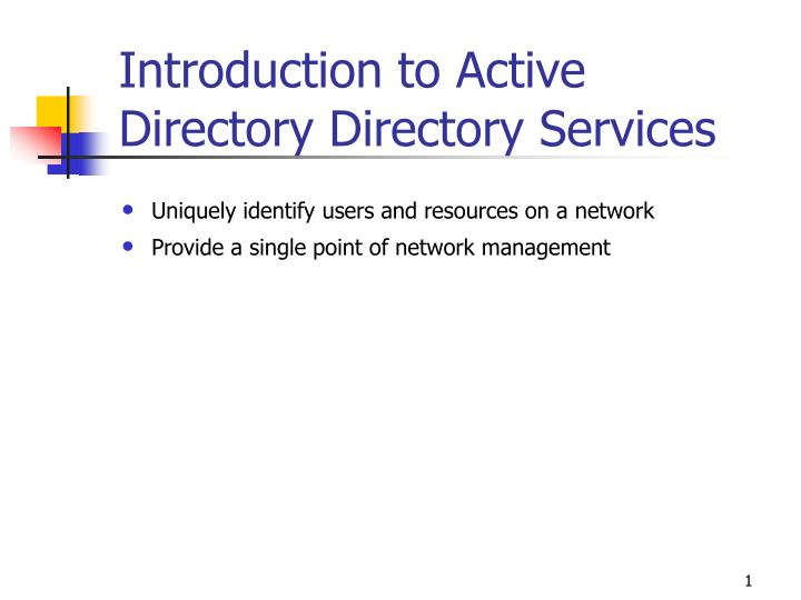 introduction to active directory directory services n.
