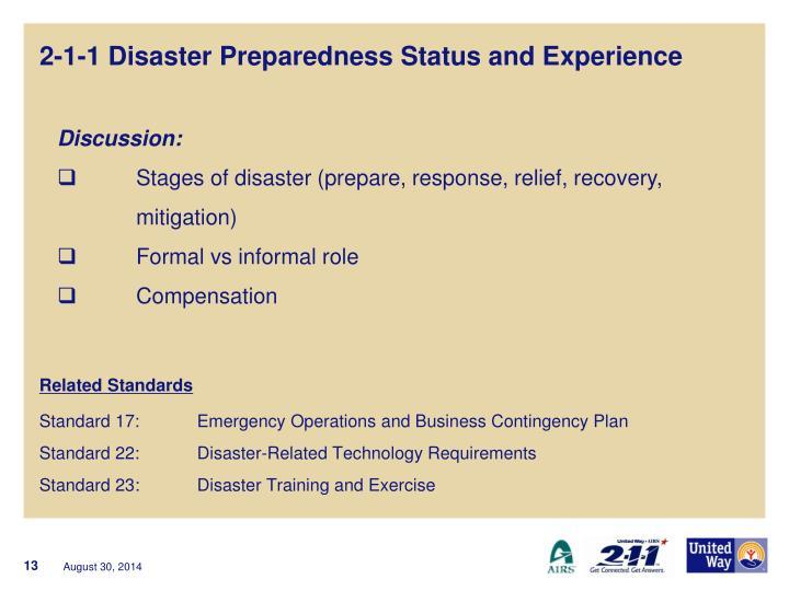 2-1-1 Disaster Preparedness Status and Experience