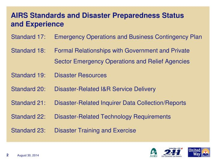 Airs standards and disaster preparedness status and experience
